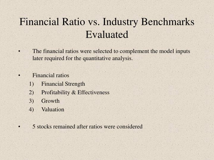 Financial Ratio vs. Industry Benchmarks Evaluated