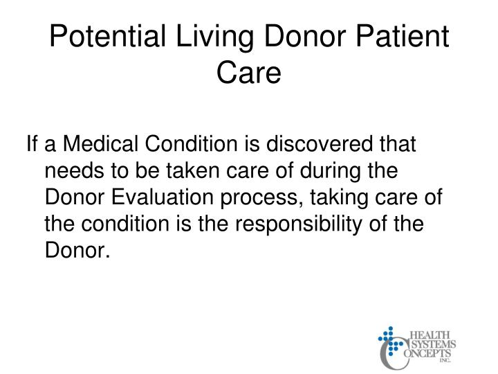 Potential Living Donor Patient Care