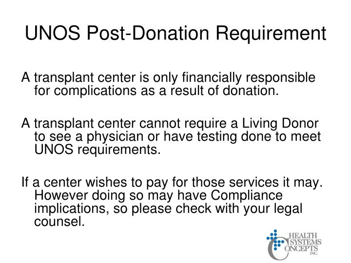 UNOS Post-Donation Requirement