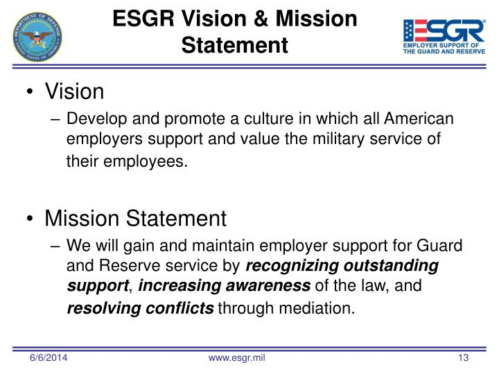 ESGR Vision & Mission Statement