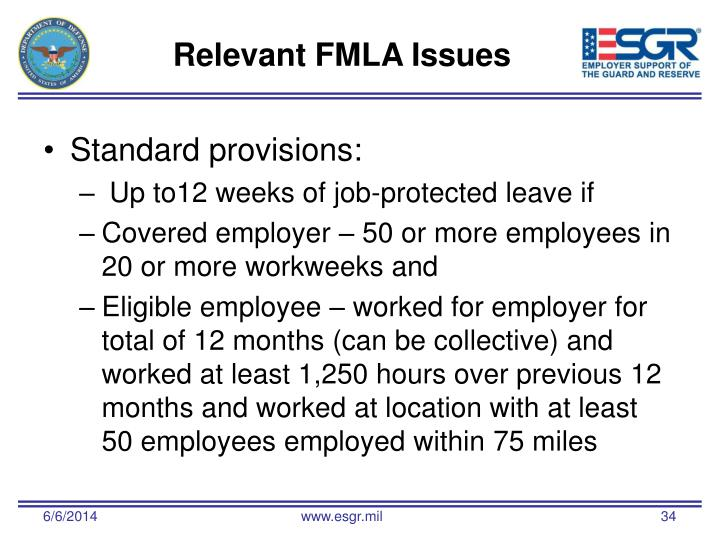 Relevant FMLA Issues