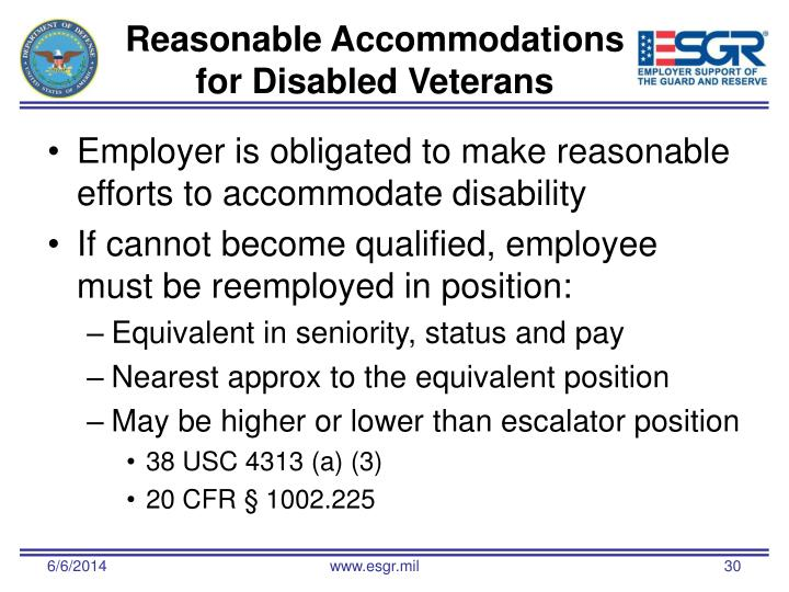 Reasonable Accommodations for Disabled Veterans