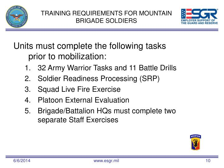 TRAINING REQUIREMENTS FOR MOUNTAIN BRIGADE SOLDIERS