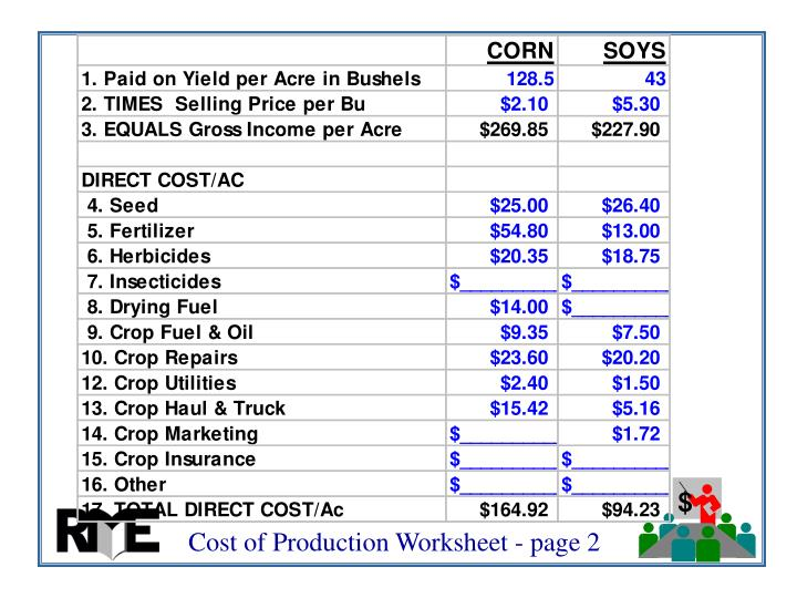 Cost of Production Worksheet - page 2