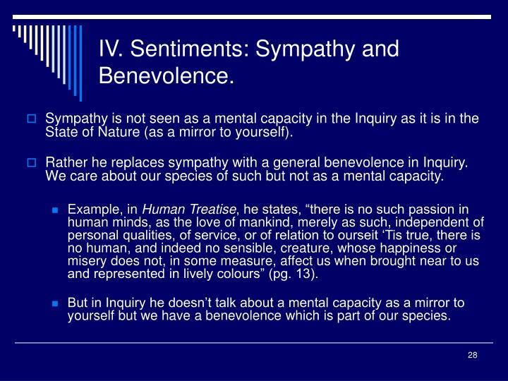 IV. Sentiments: Sympathy and Benevolence.