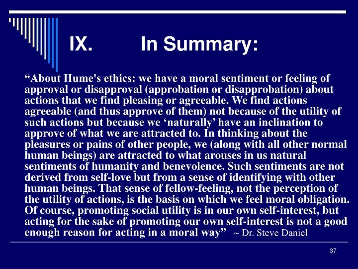 IX.In Summary: