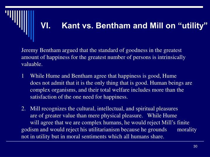 """VI.Kant vs. Bentham and Mill on """"utility"""""""