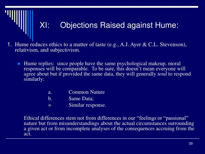 XI:Objections Raised against Hume: