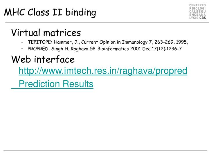 MHC Class II binding