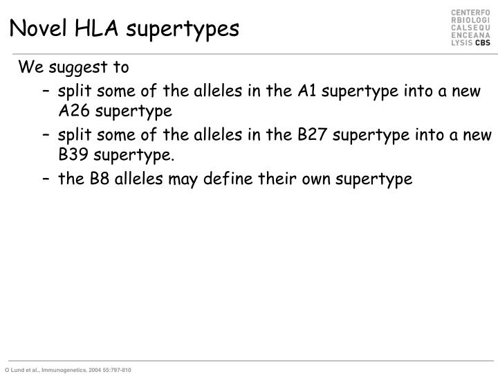 Novel HLA supertypes