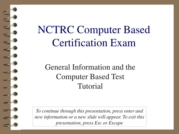 nctrc computer based certification exam