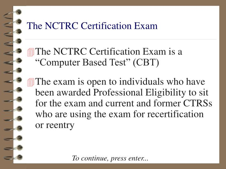 The nctrc certification exam