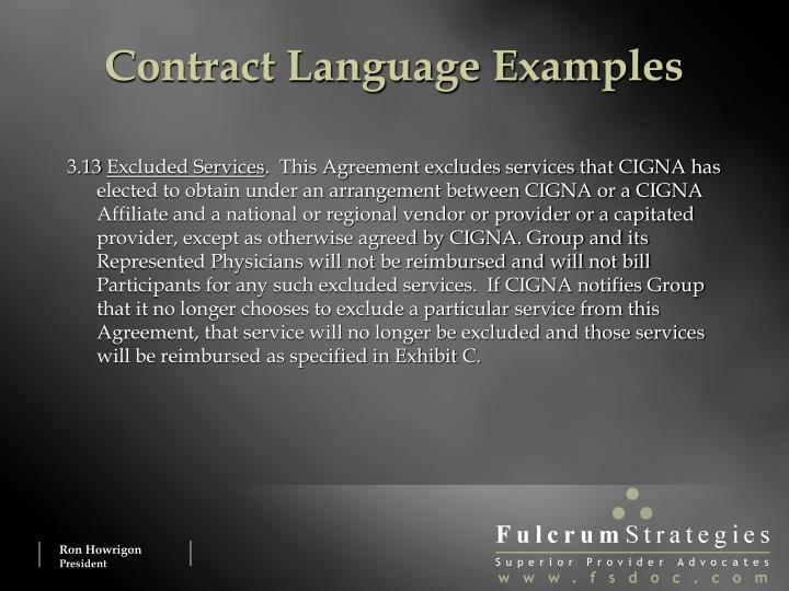 Contract Language Examples