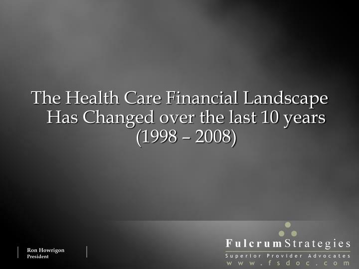 The Health Care Financial Landscape Has Changed over the last 10 years (1998 – 2008)