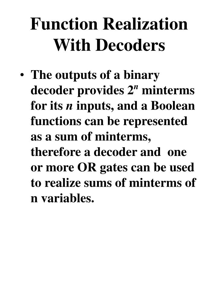 Function Realization With Decoders