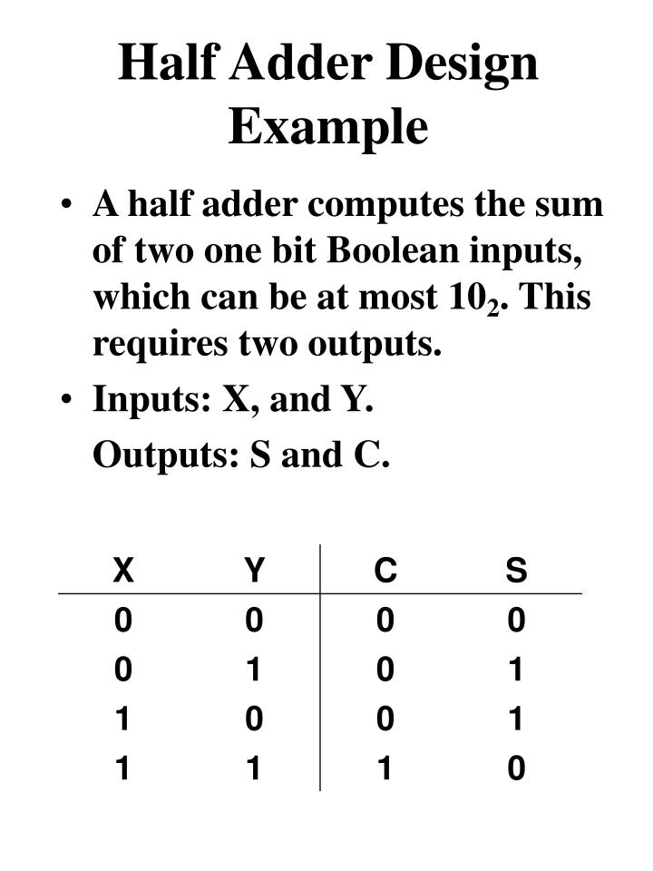 A half adder computes the sum of two one bit Boolean inputs, which can be at most 10