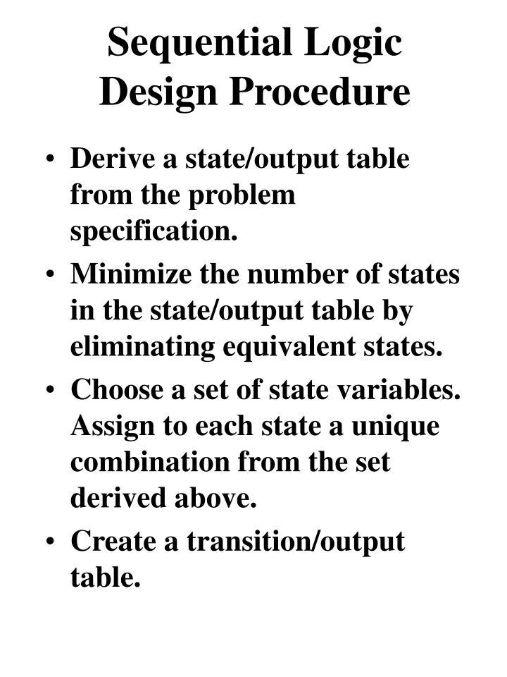 Sequential Logic Design Procedure