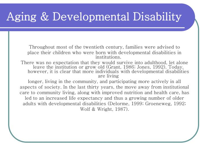 Aging & Developmental Disability