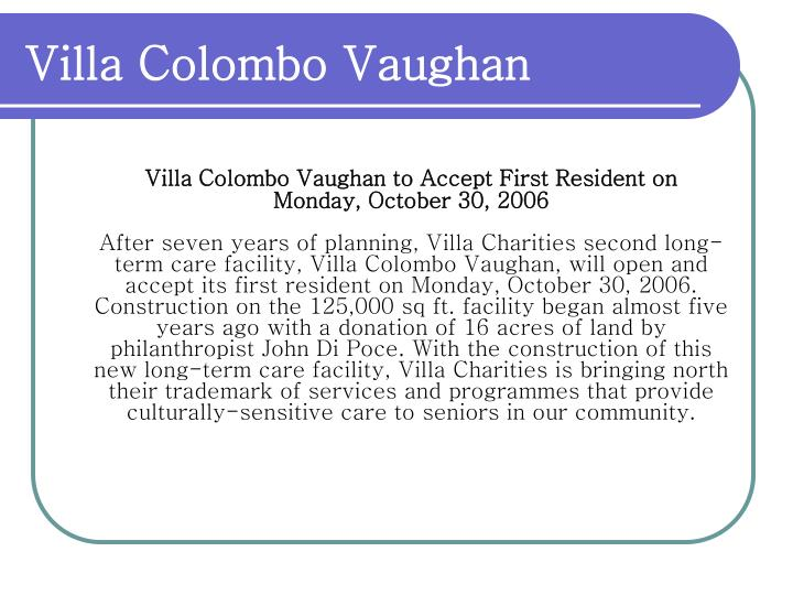 Villa Colombo Vaughan