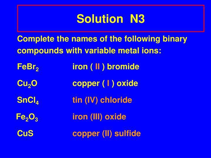 Solution  N3
