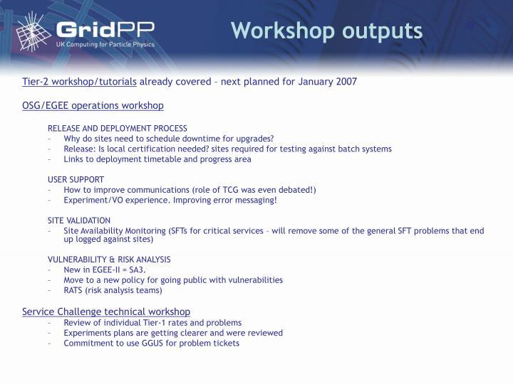 Workshop outputs