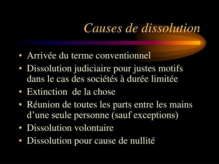 Causes de dissolution