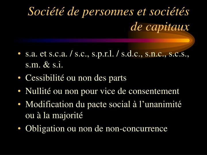 Société de personnes et sociétés de capitaux