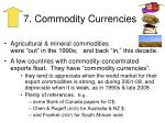 7 commodity currencies