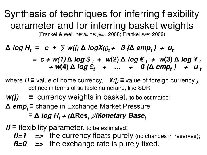 Synthesis of techniques for inferring flexibility parameter and for inferring basket weights