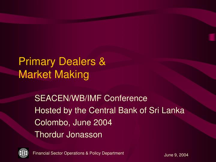 primary dealers market making