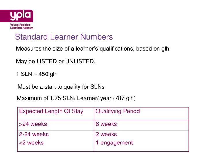 Standard Learner Numbers