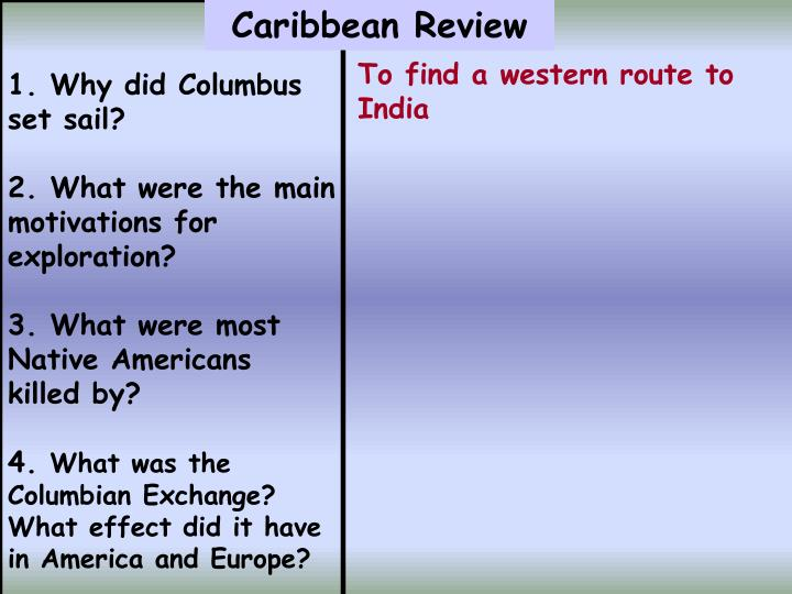 1. Why did Columbus set sail?