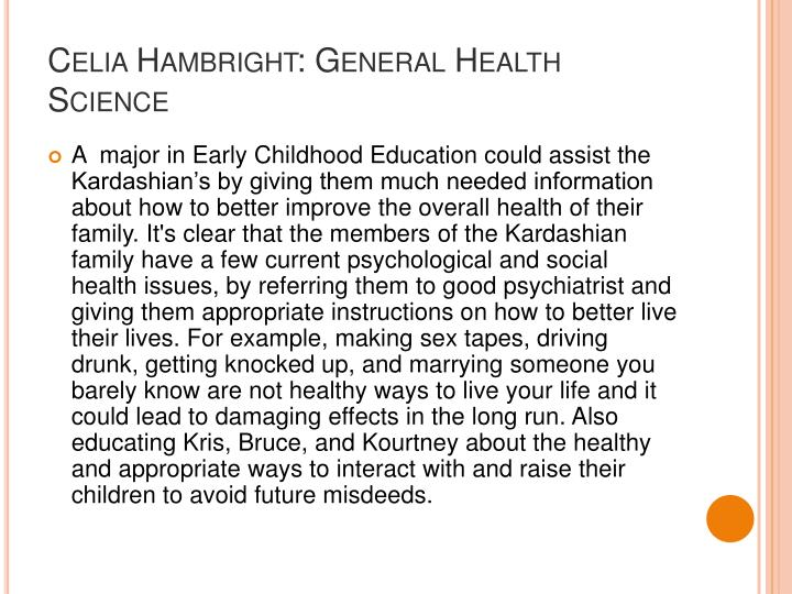 Celia Hambright: General Health Science