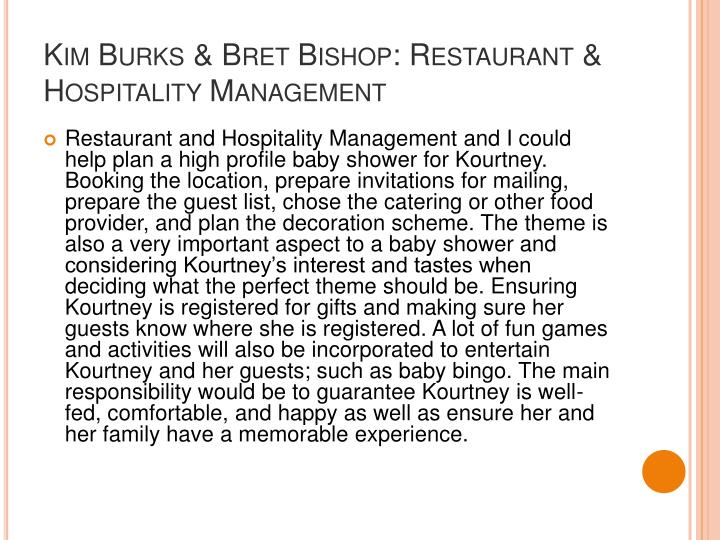 Kim Burks & Bret Bishop: Restaurant & Hospitality Management