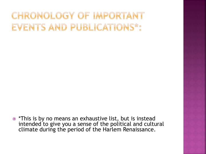 Chronology of Important Events and Publications*: