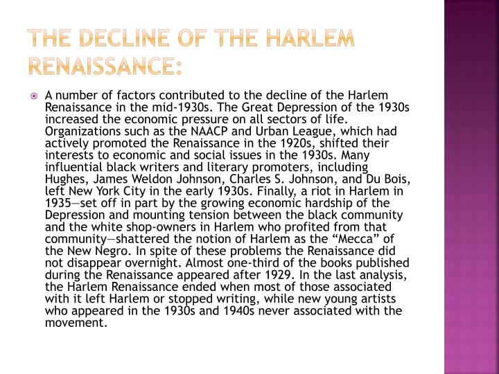 The Decline of the Harlem Renaissance: