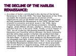 the decline of the harlem renaissance