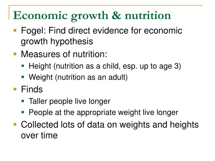 Economic growth & nutrition