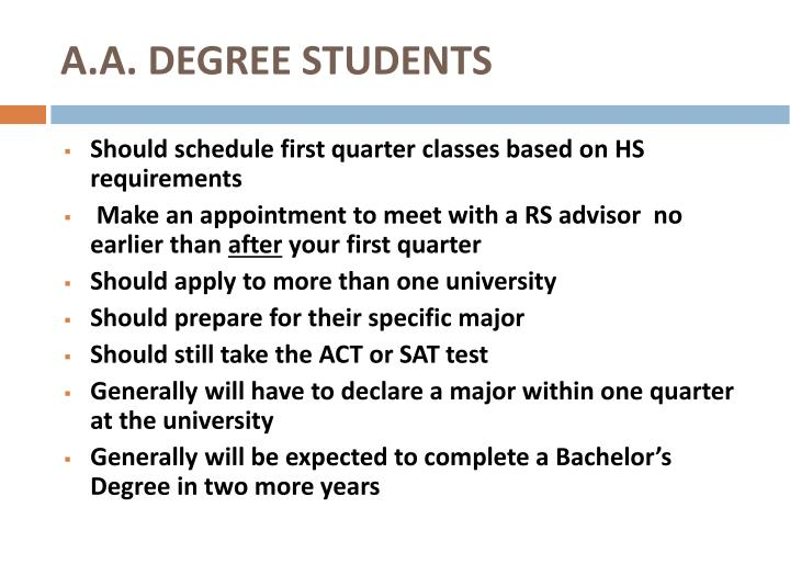 A.A. DEGREE STUDENTS