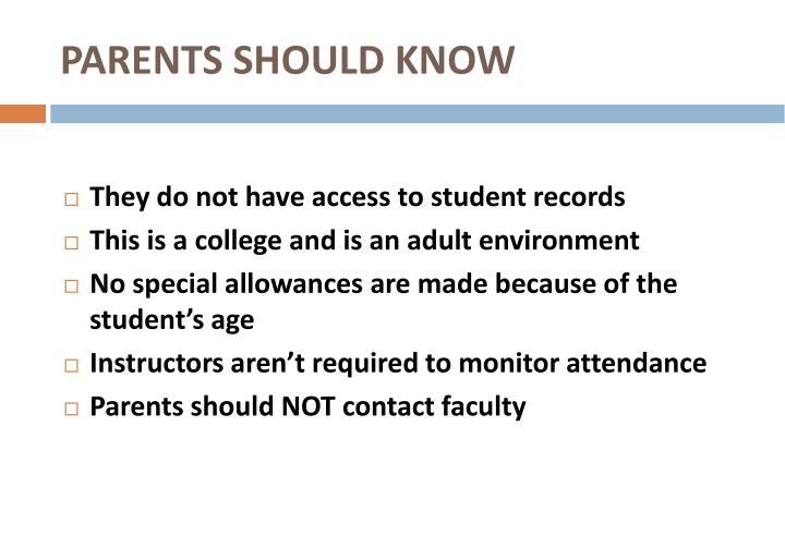 PARENTS SHOULD KNOW