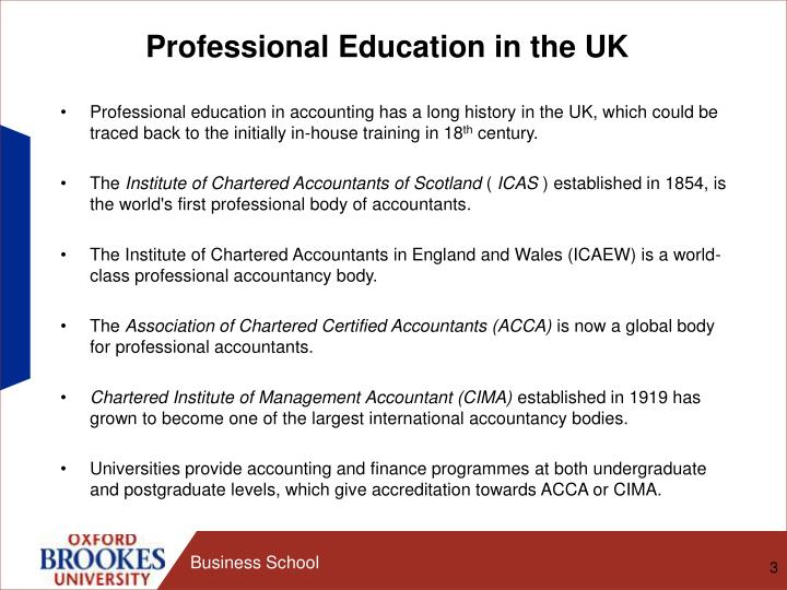 Professional Education in the UK