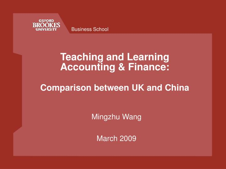teaching and learning accounting finance comparison between uk and china