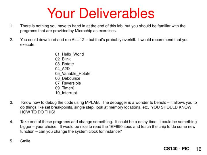 Your Deliverables