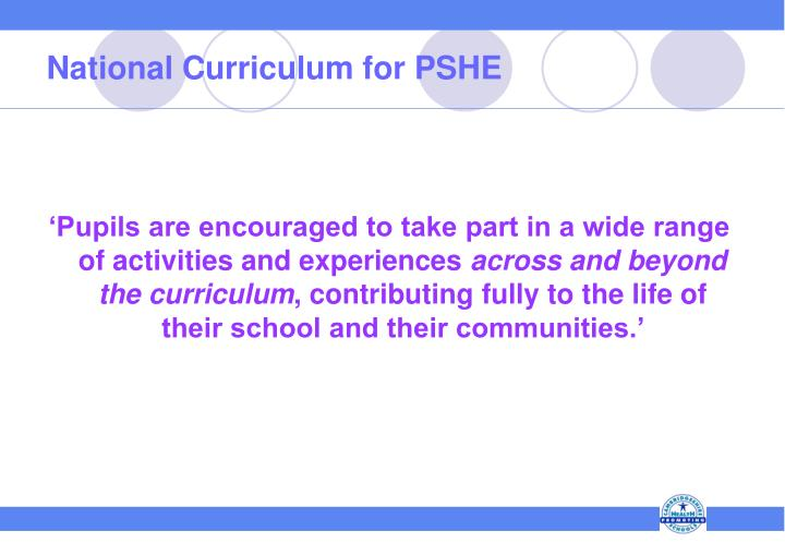 National Curriculum for PSHE
