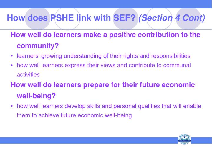 How does PSHE link with SEF?