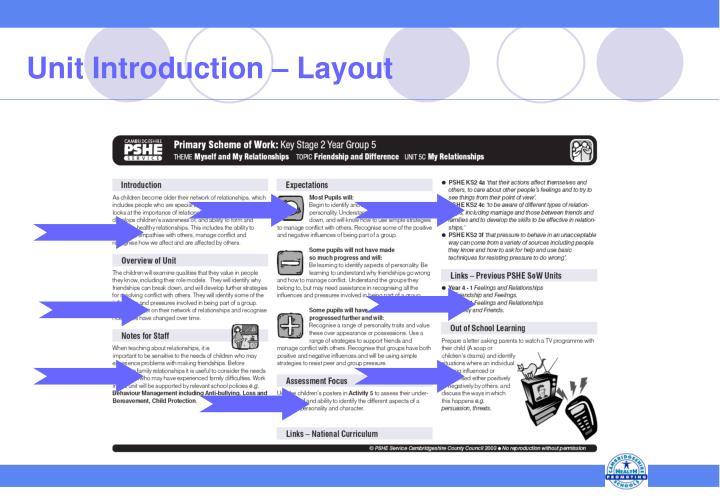 Unit Introduction – Layout