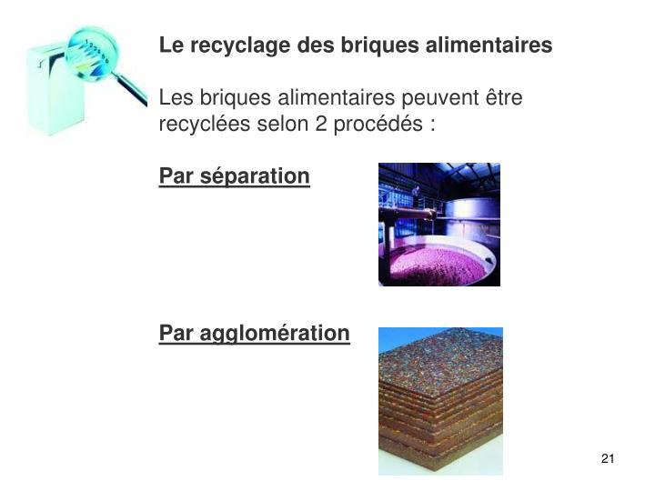 Le recyclage des briques alimentaires