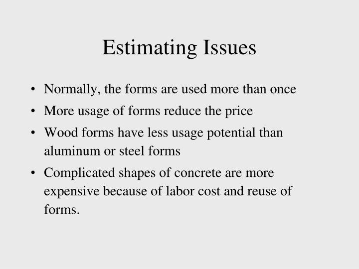 Estimating Issues