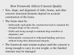 how formwork affects concrete quality