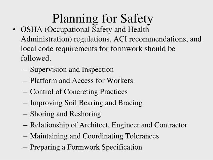 Planning for Safety